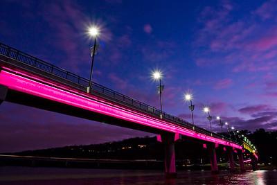 """""""Bridge of Light"""" over Arkansas River."""