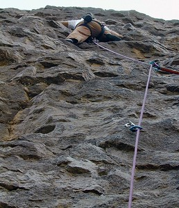 John warming up Crowd Pleaser, 5.8 Warm Up Wall, Owen's River Gorge
