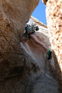 Kelly legs!! Sail Away, 5.8 Hidden tower, Real Hidden Valley, Joshua Tree