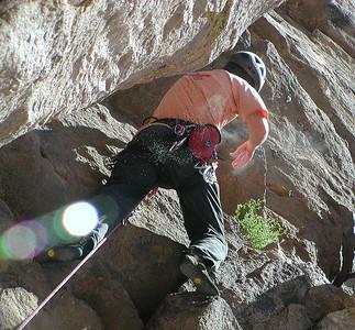 Bob warming up in a blast of chalk dust Phoenix, 5.7 Lower Elbow Room,Upper Gorge, Owen's River Gorge