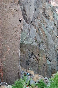 Bob high on a classic Arete,  Gorgeous, 10a Gorgeous Towers, Upper Gorge, Owen's River Gorge