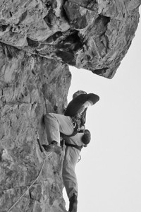John examining the overhang,  Change of Scene, 5.10a Crossfire Crag, New Jack City