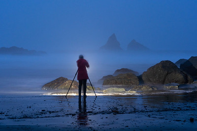 Night shooting in the fog,