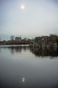 Victoria Island in the Ottawa river from the Quebec side of the river
