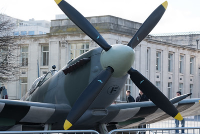 BS435, Lytham St Annes Spitfire Display Team, NST, Nuffield Southampton Theatres, Our Lucy, Southampton Celebrates, Spitfire replica, Studio 144, Supermarine Spitfire F Mk IX @ GuildHall Square, Southampton,England