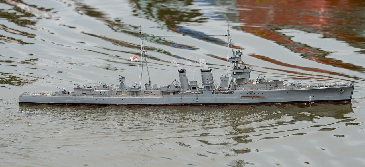 C-class light cruiser, David McNair-Taylor, HMS Curacoa, Navy Day 2017, SRCMBC, Setley Pond, Solent Radio Control Model Boat Club