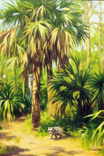 Palm Trees with Raccoons