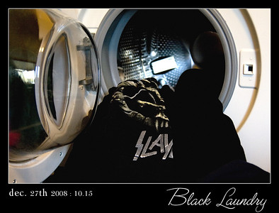 Black Laundry. My youngest daughter is gradually adding some colour back in her black wardrobe but there's still more than enough black left to fill the washingmachine on saturday - laundry-day.