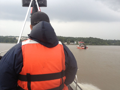CVFD boat crew standby for the Cortlandt celebration that was canceled due to rain