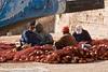 Men working at fishing nets at Essaouira