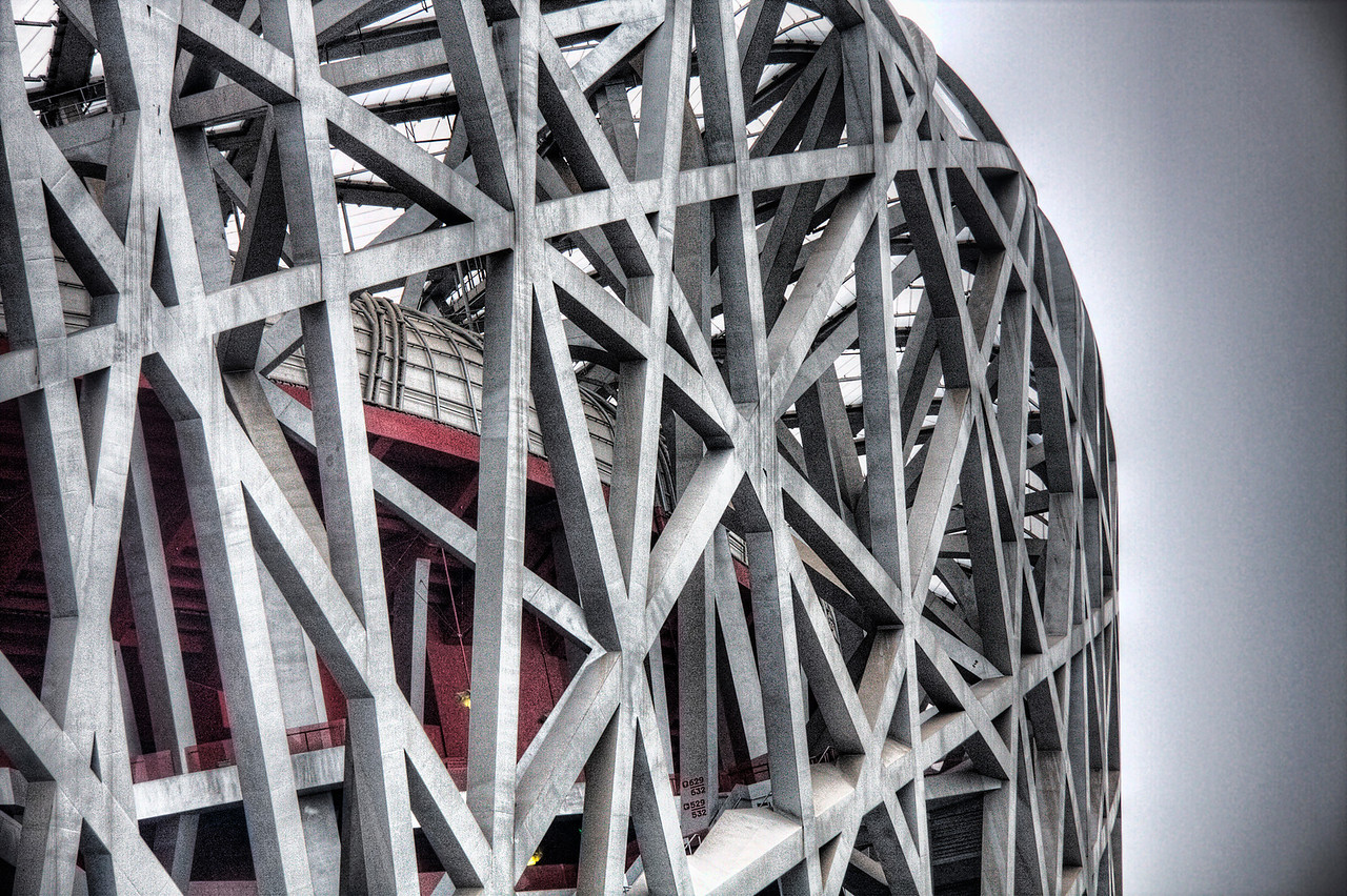 Detail of Beijing Olympic Stadium, Beijing, China (HDR).