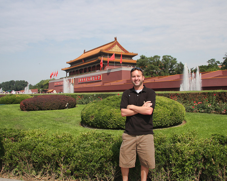 Self portrait near Tiananmen Gate. Beijing, China.