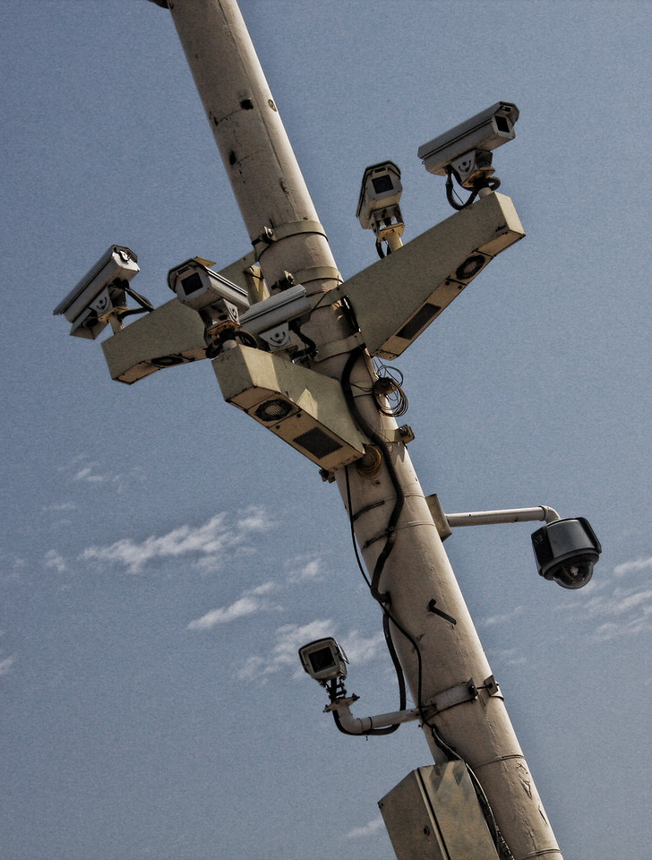 Big Brother. Security cameras near Tiananmen Square in Beijing, China.