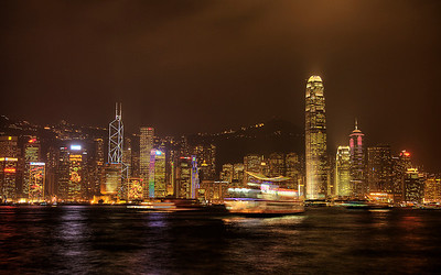 Victoria Harbour at Night, Hong Kong, China (HDR Image)