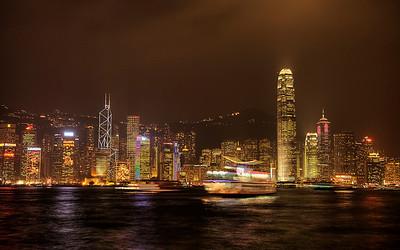 Victoria Harbour at Night, Hong Kong, China (HDR Image)