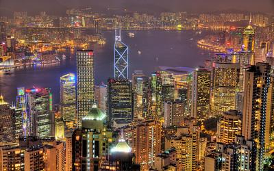 Urban Glow: Hong Kong, China (HDR Image)