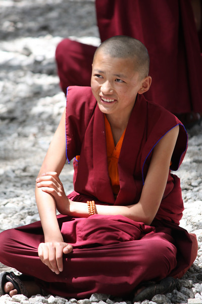 A young Buddhist monk at Sera Monastery; Lhasa, Tibet