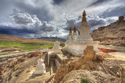 Ancient stupas near Sakya, Tibet (HDR Image)