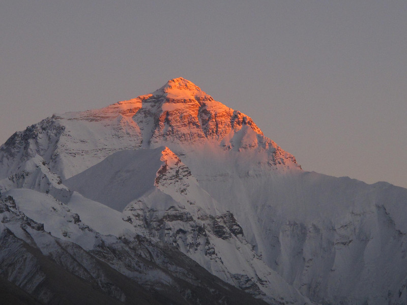 Pinnacle in Pink. The world's tallest mountain.  Mt. Everest: 29,031 ft.