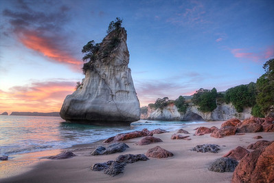 Cathedral Cove (HDR) Cathedral Cove is a stunning piece of coastline near Hahei, New Zealand.  It was used during the filming of the film, Narnia.