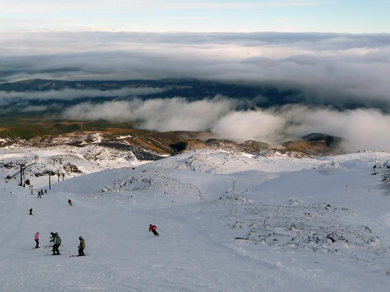 Turoa Ski Fields Turoa Ski Field boasts the largest vertical drop in New Zealand.