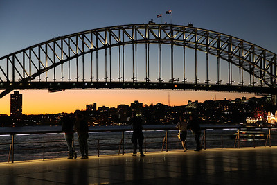 Watching the sunset behind Harbour Bridge in Sydney, Australia