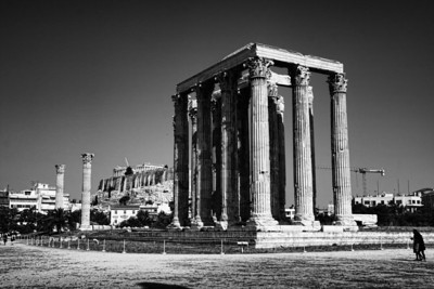 The Temple of Olympian Zeus (and the Acropolis). Athens, Greece