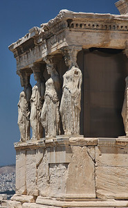 The Caryatids of the Erictheum on the Acropolis of Athens, Greece.