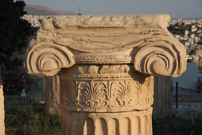 Remains of an Ionic column atop the Acropolis of Athens, Greece.