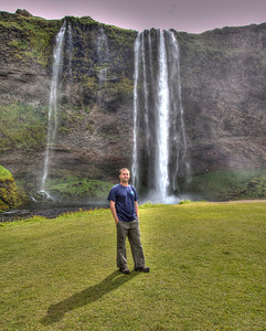 JML at a waterfall along Route 1 - The Ring Road - in South Iceland (HDR)