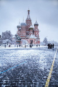 St. Basil's Cathedral in Moscow; under a fresh blanket of snow. (HDR)