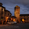Evening in a village plaza in the Pyrenees
