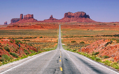 The road to Monument Valley, UT.  (US Highway 163 in Utah, looking southwest towards Monument Valley).