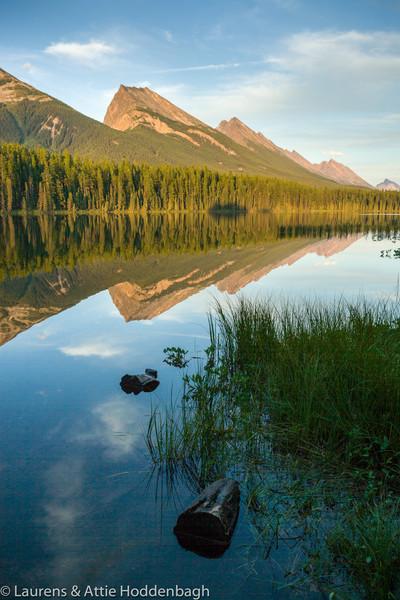 Sunset at Honeymoon Lake, Jasper Nat'l Park, Alberta, CA