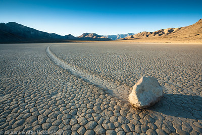 Rock on the racetrack in Death Valley at sunrise  Filename: CEM010531-DeathValley-CA-USA.jpg