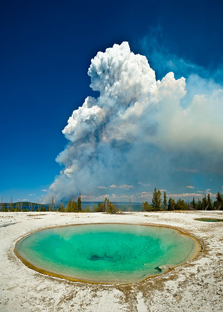 Smoke from Fire seen from Blue Funnel Spring, West Thumb Geyser Basin