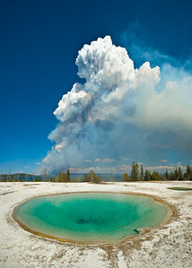 Smoke from Fire seen from Blue Funnel Spring, West Thumb Geyser Basin, Yellowstone Nat'l Park  Filename: CEM009898-9903-YellowstoneNP-WY-USA-Edit-3.jpg