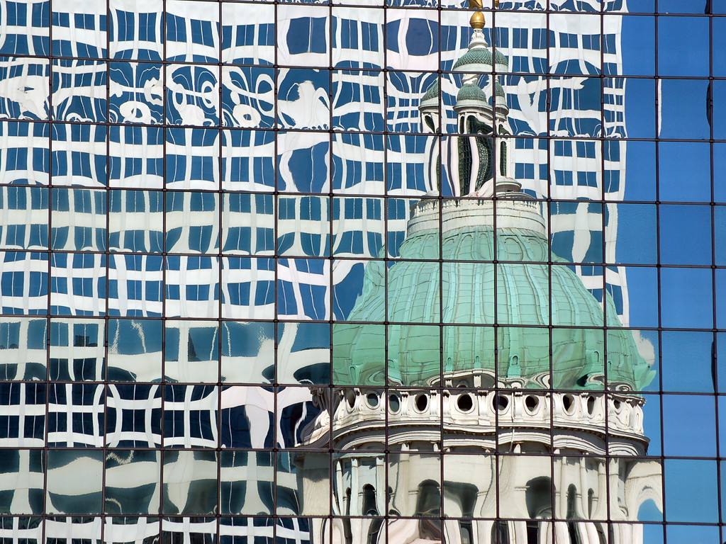 The Old Courthouse sees its reflection