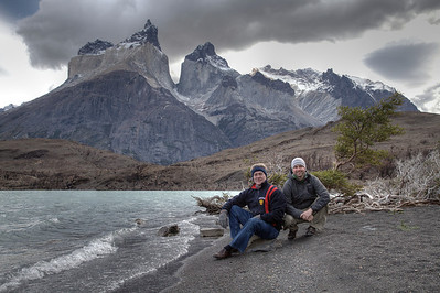 A father-son shot along Lago Nordenskjold in Torres del Paine National Park, Chile. (HDR)