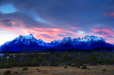 Heavenly Light. Sunset over the Paine Masif in Torres del Paine National Park, Chile. (HDR)