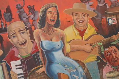 A colorful mural adorns a wall near Mercado Central in Santiago, Chile.