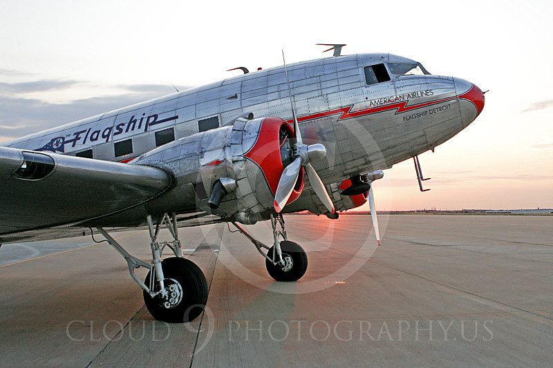 ALPPN 00005 An excellent quarter front tight crop of a Douglas DC-3 in American Airline Flagship markings, airplane picture, by Jay Shelby Davis