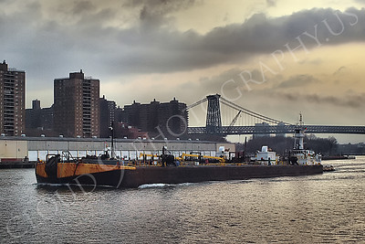 TUGB 00014 A tugboat and a barge leaving New York Harbor, maritime picture, by John G Lomba