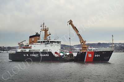USCGS 00002 USCG bouy tender ship JUNIPER at work in New York Harbor, maritime picture, by John G Lomba