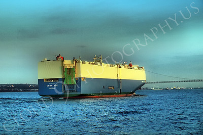 CCS 00066A Car carrier SWAN ACE entering New York Harbor, maritime picture, by John G Lomba