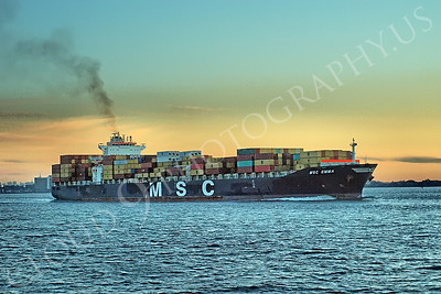 CCS 00051 Container ship MSC EMMA sails from the port of New York Harbor, maritime picture, by John G Lomba
