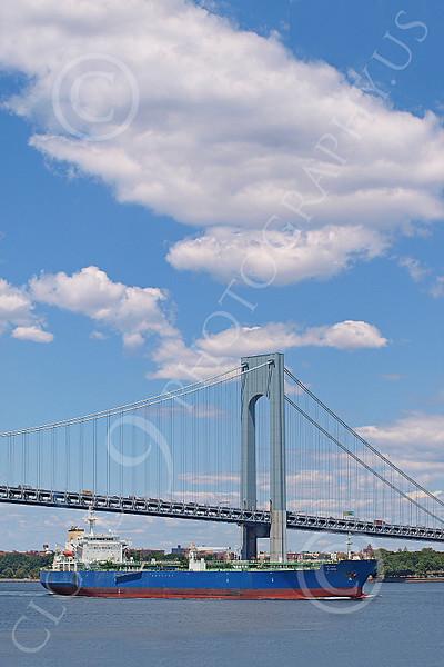 CCS 00021 A non-US civilian cargo ship sails under a bridge in New York Harbor, by John G Lomba