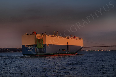 CCS 00066 Car carrier SWAN ACE entering New York Harbor, maritime picture, by John G Lomba