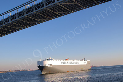 CCS 00047 Car carrier ship HEOGH DURBAN of HOEGH AUTOLINERS sails under Verrazano Bridge and enters New York Harbor, maritime picture, by John G Lomba