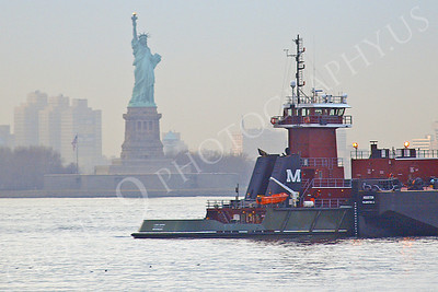 TUGB 00018 A Moran tug and barge in New York Harbor near the Statute of Liberty, maritime picture, by John G Lomba